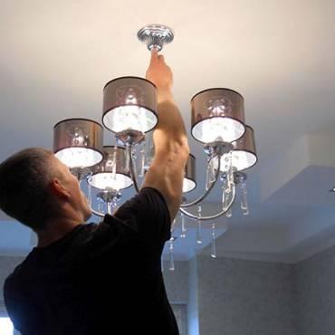 Установка люстры, светильников